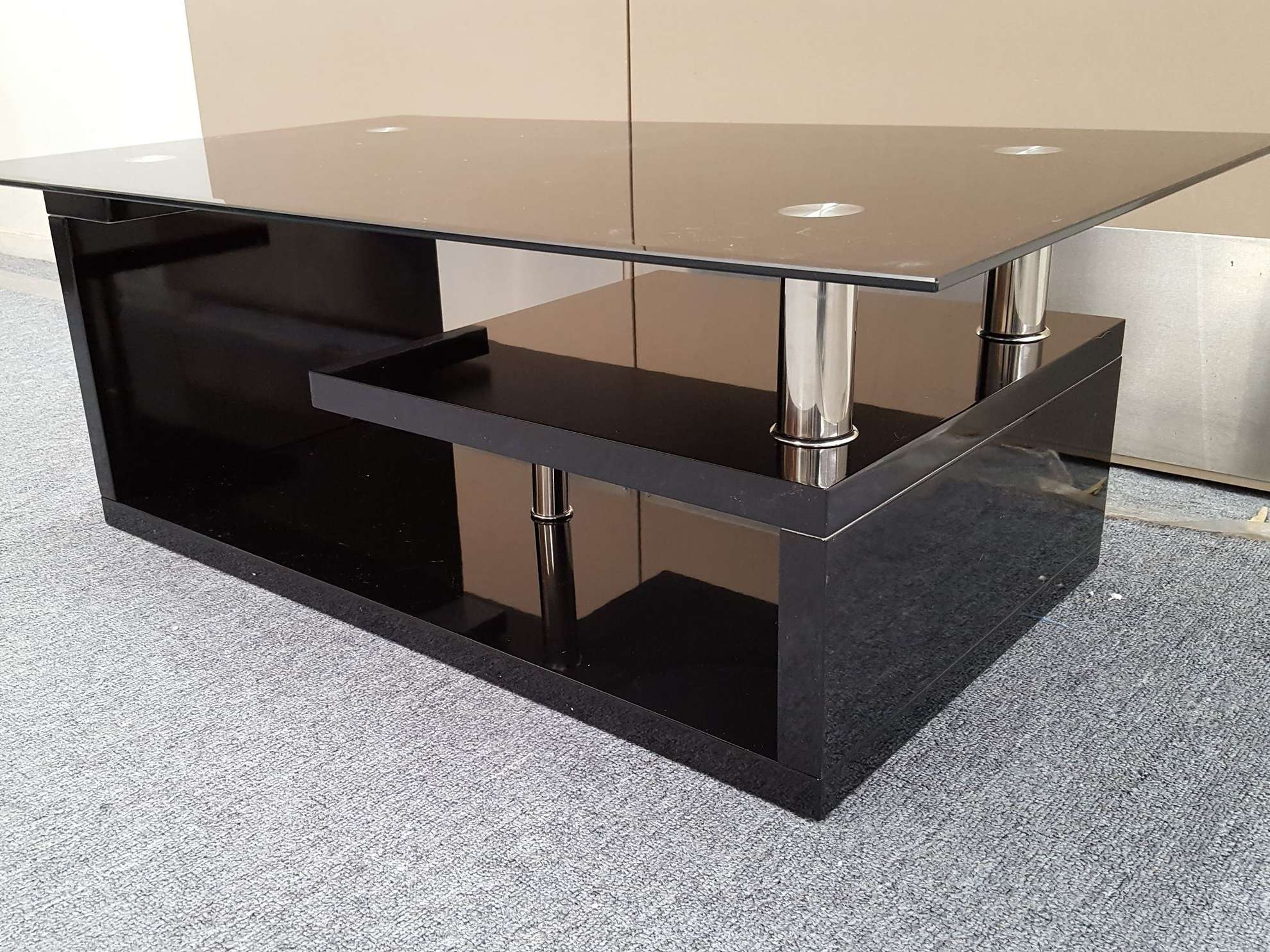 Fashionable Glass And Black Coffee Tables Regarding Coffee Table : Magnificent Small Oval Coffee Table Silver And (View 9 of 20)