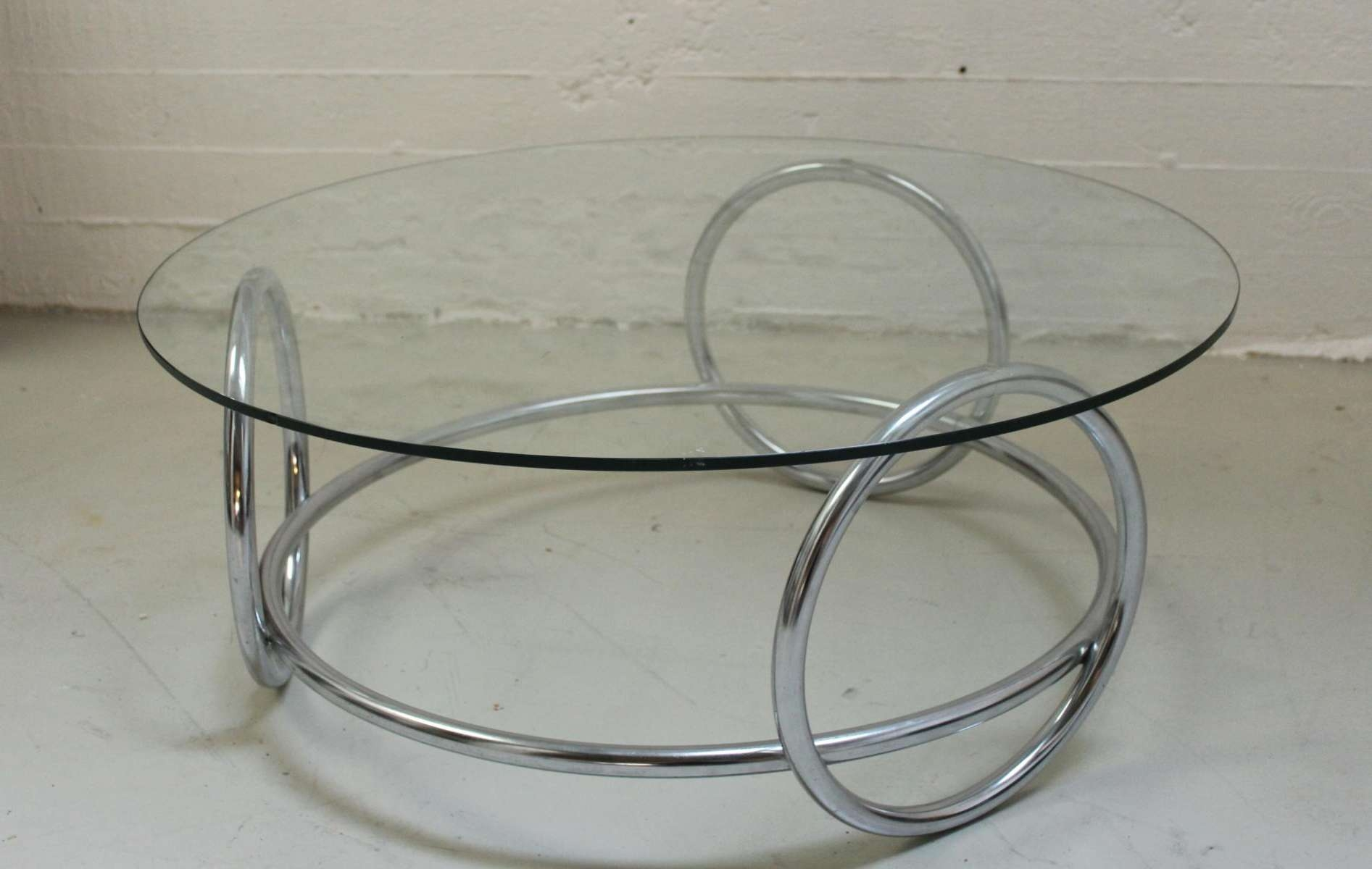 Fashionable Glass And Chrome Coffee Tables With Chrome Ring And Glass Coffee Table, 1970S For Sale At Pamono (View 12 of 20)