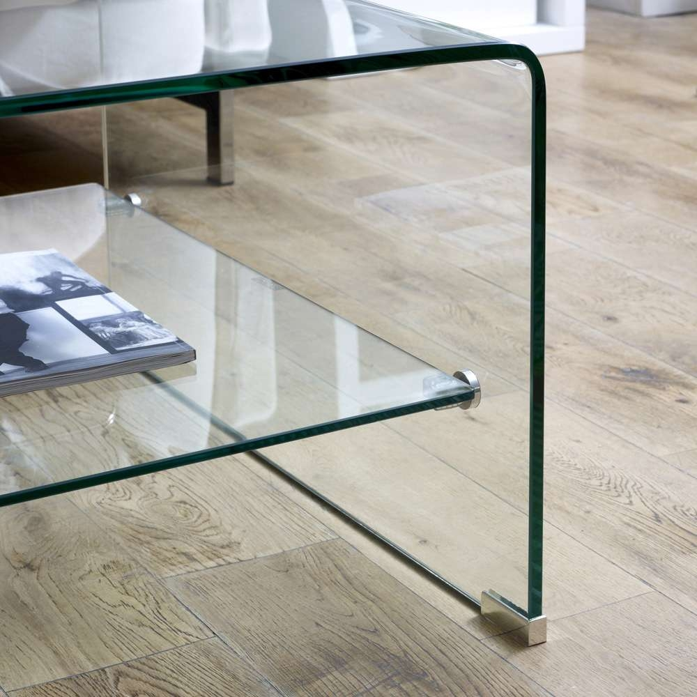 Fashionable Glass Coffee Tables With Shelf Within Dual Glass Shelf Coffee Table Coaster 720228 Bent Wi / Thippo (View 8 of 20)
