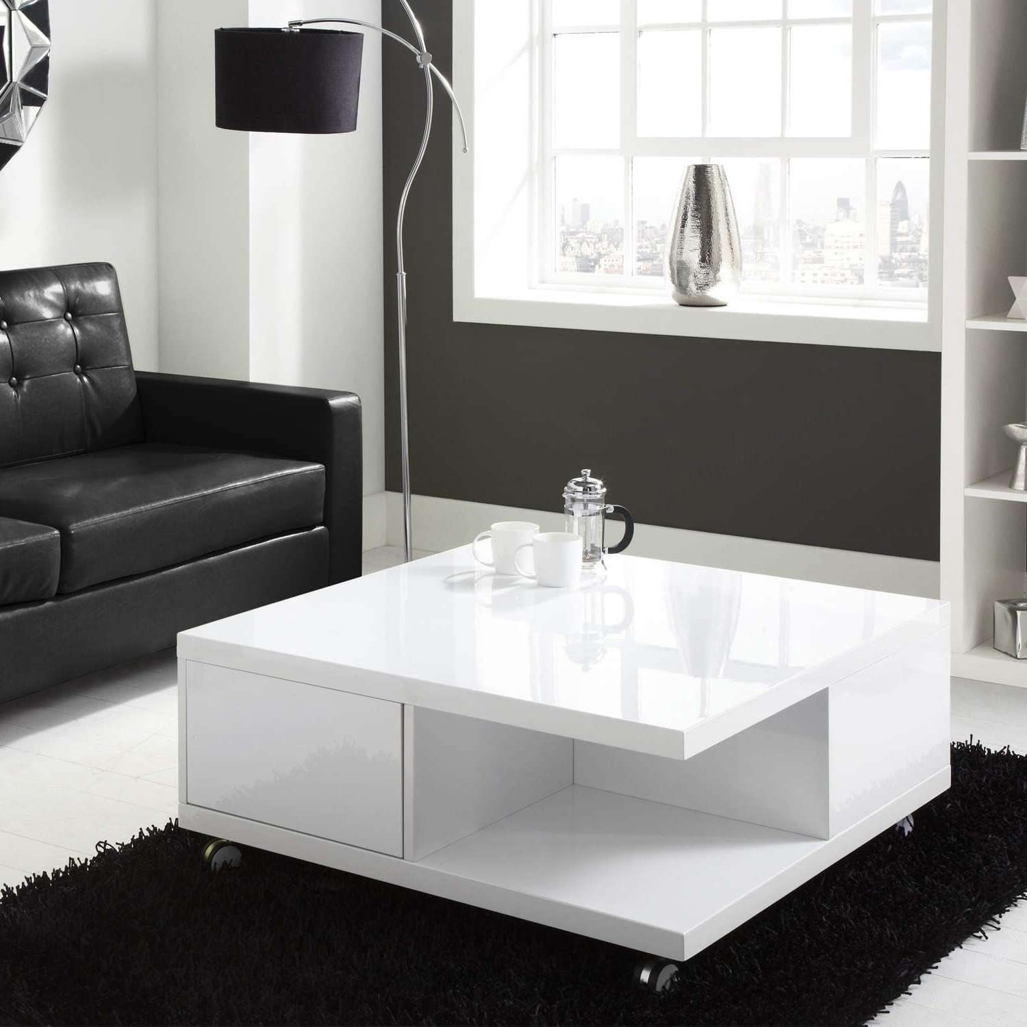 Fashionable High Gloss Coffee Tables Pertaining To Coffee Tables : Storage Table High Gloss White Coffee With Drawers (View 5 of 20)