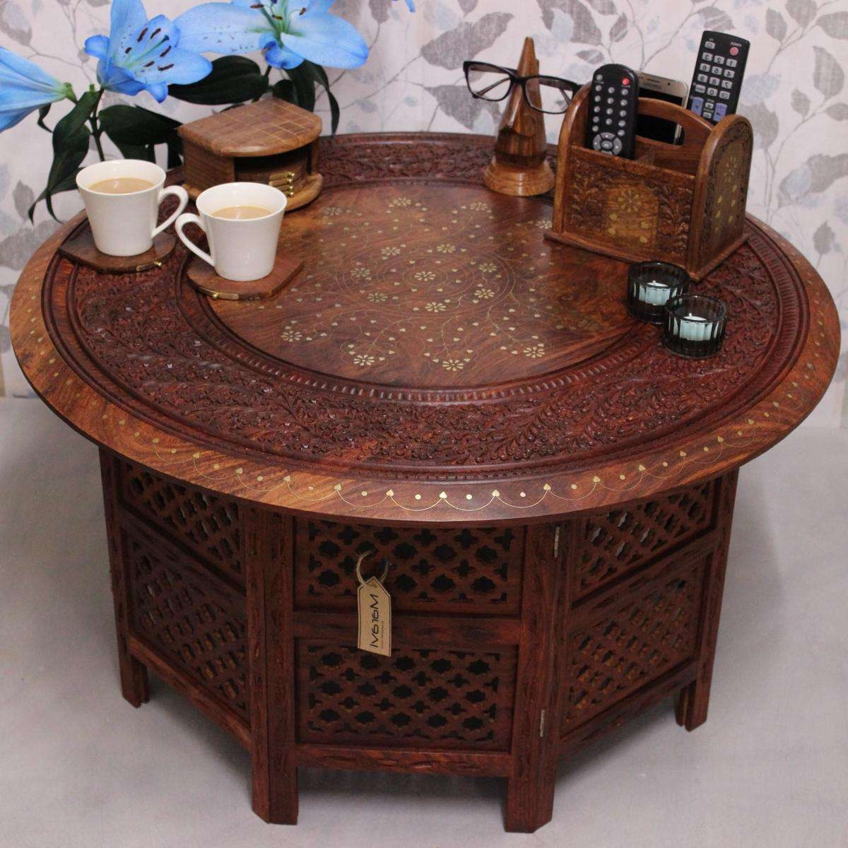 Fashionable Indian Coffee Tables Within Karakoram Maravi Large Round Coffee Table Brown Solid Wooden (View 13 of 20)
