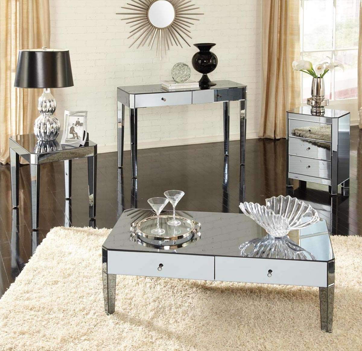 Fashionable Mirrored Coffee Tables With Coffee Table, Mirrored Coffee Table Set Mirrored Coffee Table Tray (View 16 of 20)