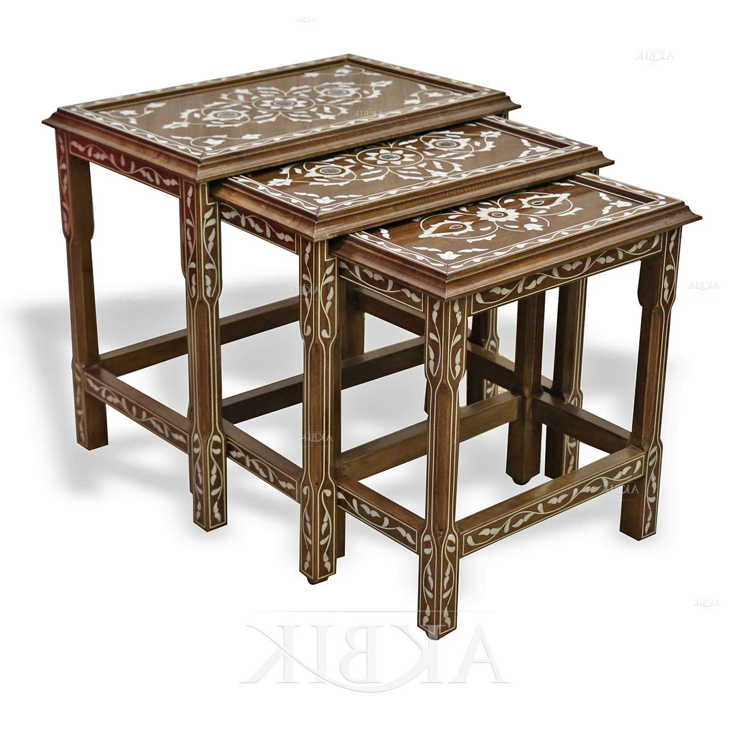 Fashionable Mother Of Pearl Coffee Tables For Mediterranean, Levantine & Syrian Furniture Inlaid With Mother Of (View 4 of 20)