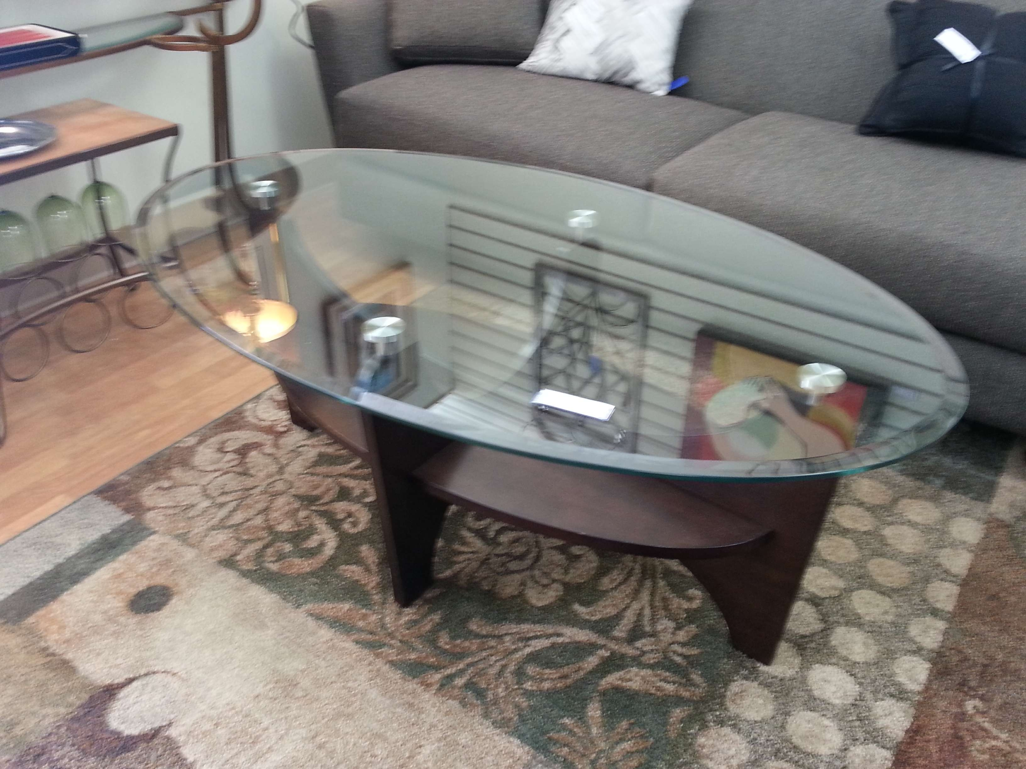 Fashionable Oval Glass And Wood Coffee Tables Regarding Oval Glass Coffee Table – Writehookstudio (View 7 of 20)