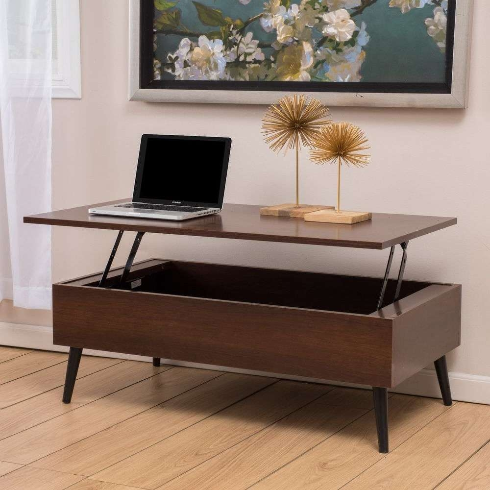 Fashionable Pop Up Top Coffee Tables Throughout Living Room Furniture Mid Century Mahogany Wood Lift Top Storage (View 12 of 20)