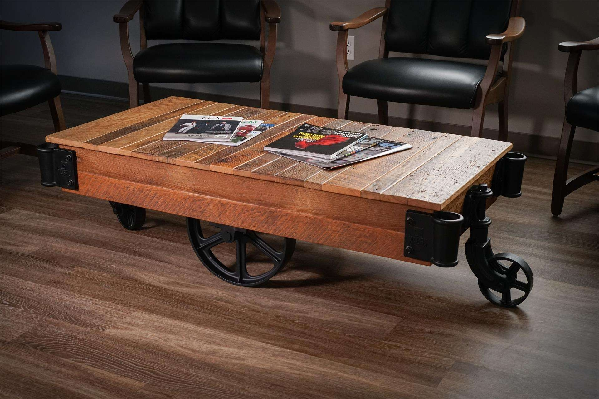 Fashionable Reclaimed Oak Coffee Tables Inside Factory Cart Coffee Table From Dutchcrafters Amish Furniture (View 18 of 20)