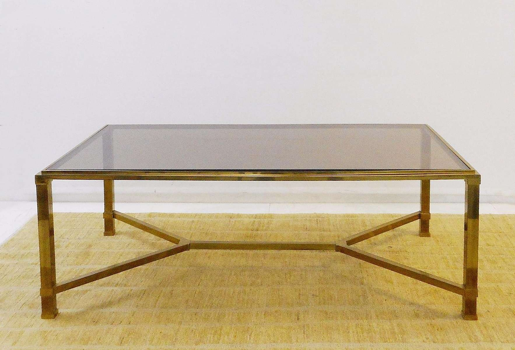 Fashionable Retro Smoked Glass Coffee Tables Regarding Vintage Brass & Smoked Glass Coffee Table For Sale At Pamono (View 9 of 20)