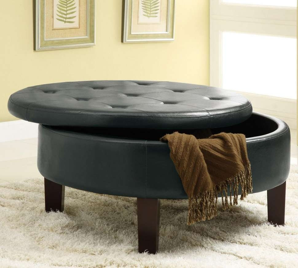 Fashionable Round Coffee Tables With Storage With Coffee Tables : Pouf Ottoman Collapsible Red With Storage And Tray (View 15 of 20)