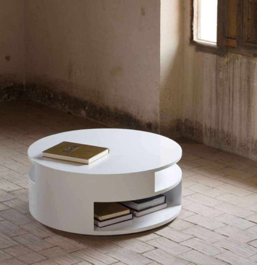 Fashionable Round High Gloss Coffee Tables For Coffee Table : Round Coffeeble With Stools Storage Valparaiso In (View 7 of 20)