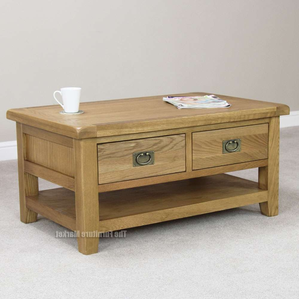 Fashionable Rustic Coffee Table Drawers Intended For Coffee Table, Malvern Oak Coffee Table, With Drawers Rustic Coffee (View 10 of 20)