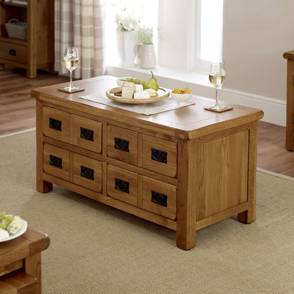 Fashionable Rustic Oak Coffee Table With Drawers For Coffee Table : Rustic Oak Coffee Table Rustic Nest Of Tables (View 7 of 20)
