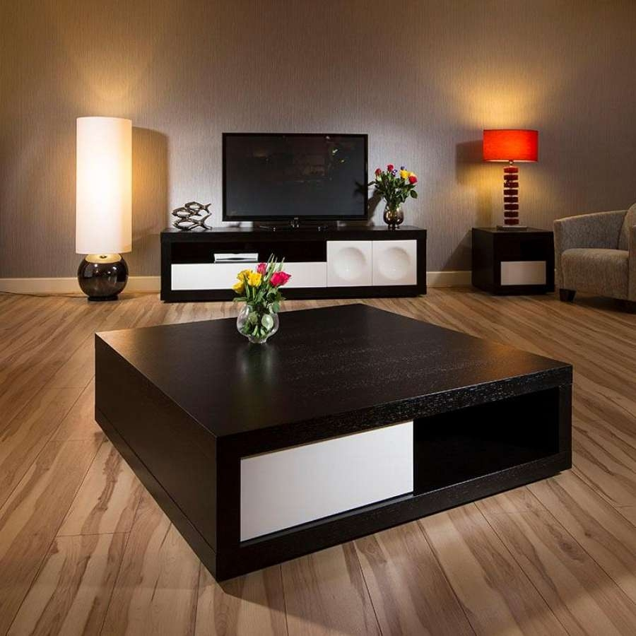 Fashionable Square Black Coffee Tables Throughout Square Coffee Tables Modern Coffee Table With Dark Wooden Table (View 9 of 20)