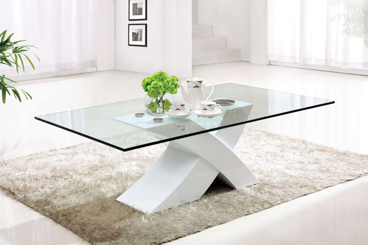 Fashionable White And Glass Coffee Tables With Regard To Coffee Tables : Minimalist Dutch Concrete And Glass Coffee Table (View 2 of 20)