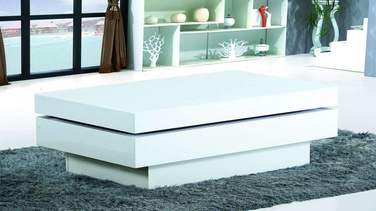 Fashionable White Gloss Coffee Tables Within Modern White Gloss Coffee Table – Homegenies (View 5 of 20)