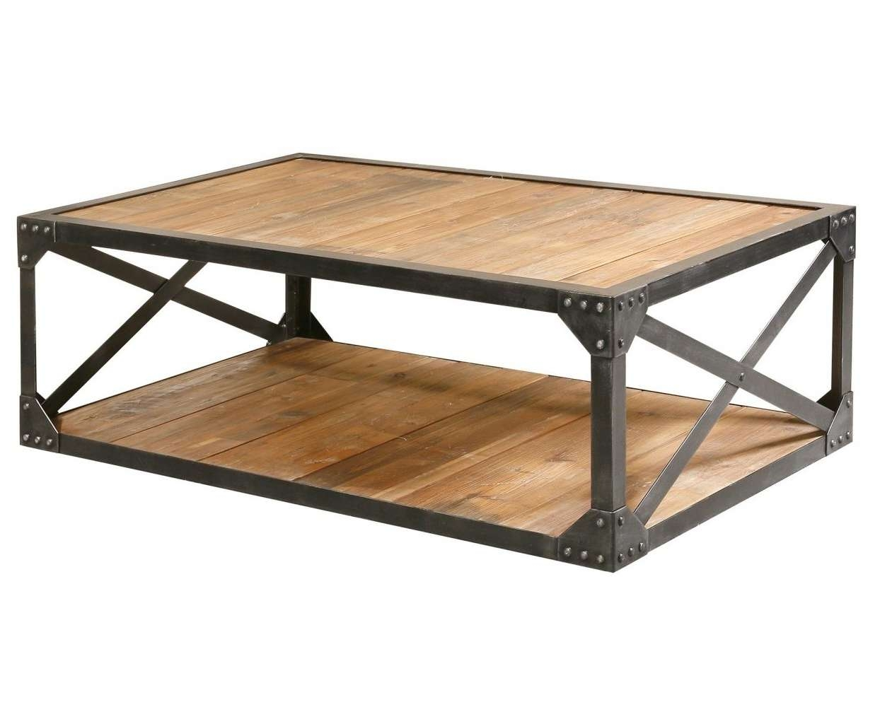 Fashionable Wood And Steel Coffee Table Regarding Coffee Tables Trunk Coffee Tables And Restoration Hardware Wood (View 4 of 20)