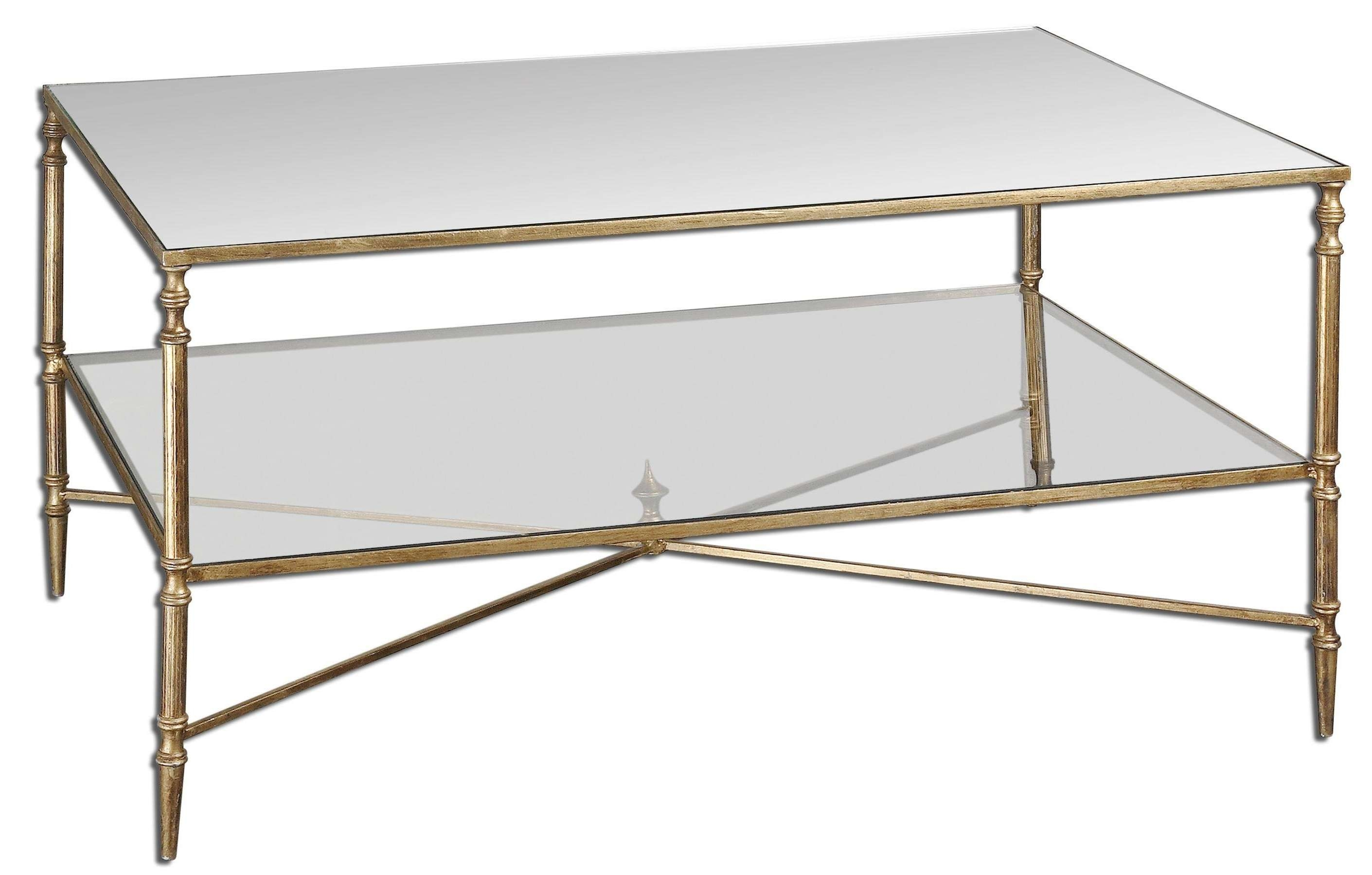 Favorite Antique Glass Coffee Tables Within Clear Rectangle Antique Metal Glass Coffee Table With Shelf (View 8 of 20)
