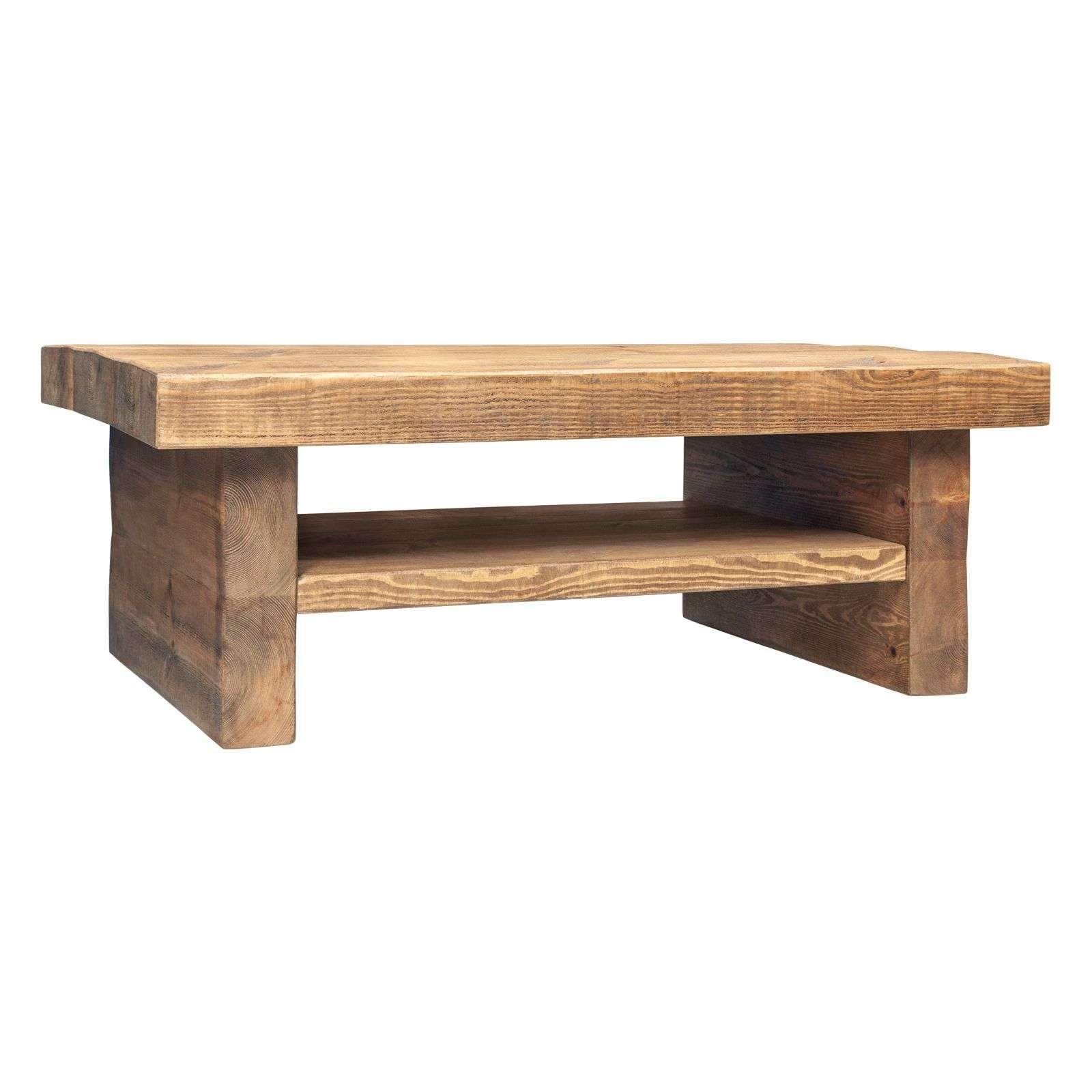 Favorite Chunky Wood Coffee Tables Intended For Coffee Table With Shelf – Tall 3 Inch Top 2 Leg (View 15 of 20)