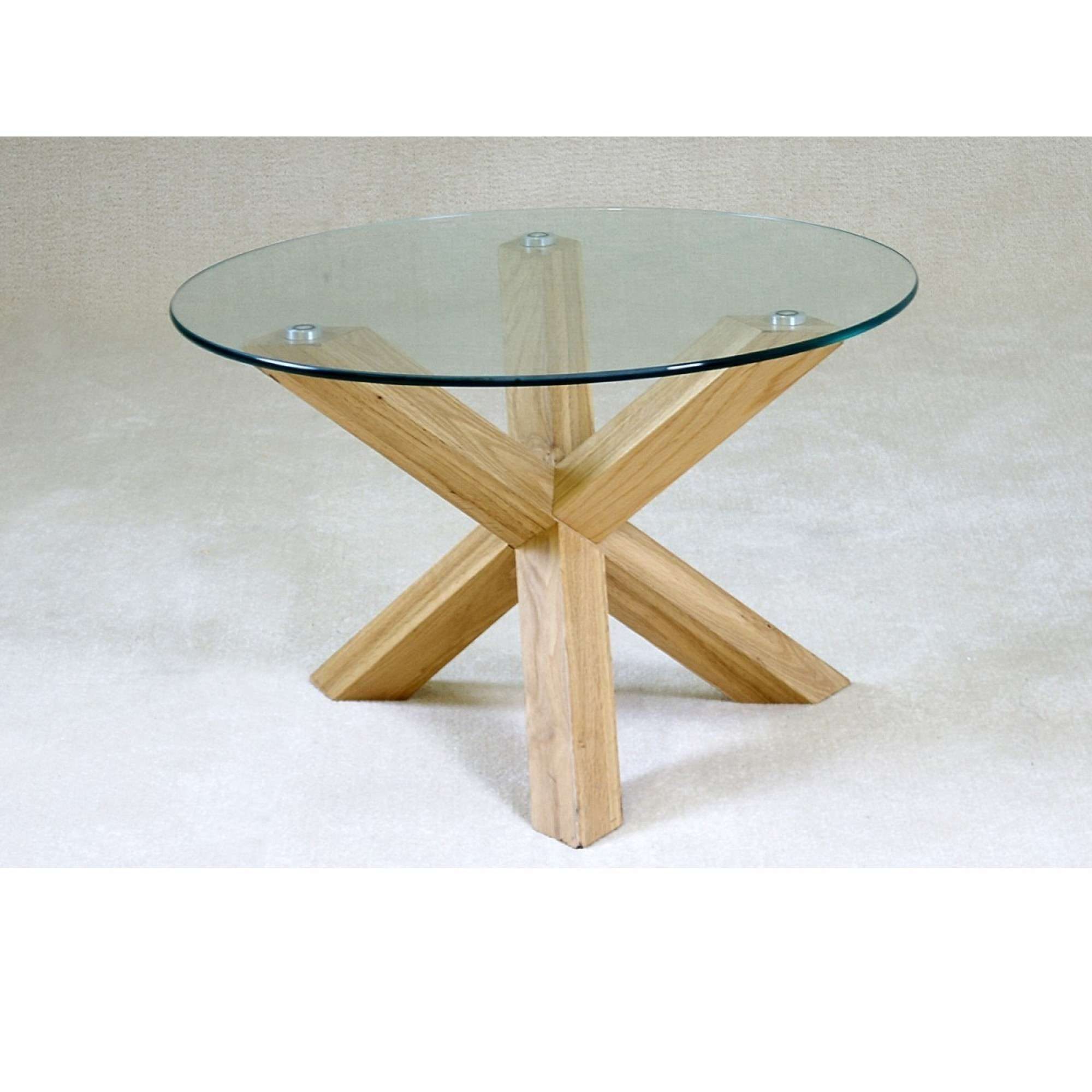 Favorite Glass And Oak Coffee Tables Inside Coffee Tables : Round Glass Coffee Table Wood Base Simple Elegance (View 9 of 20)