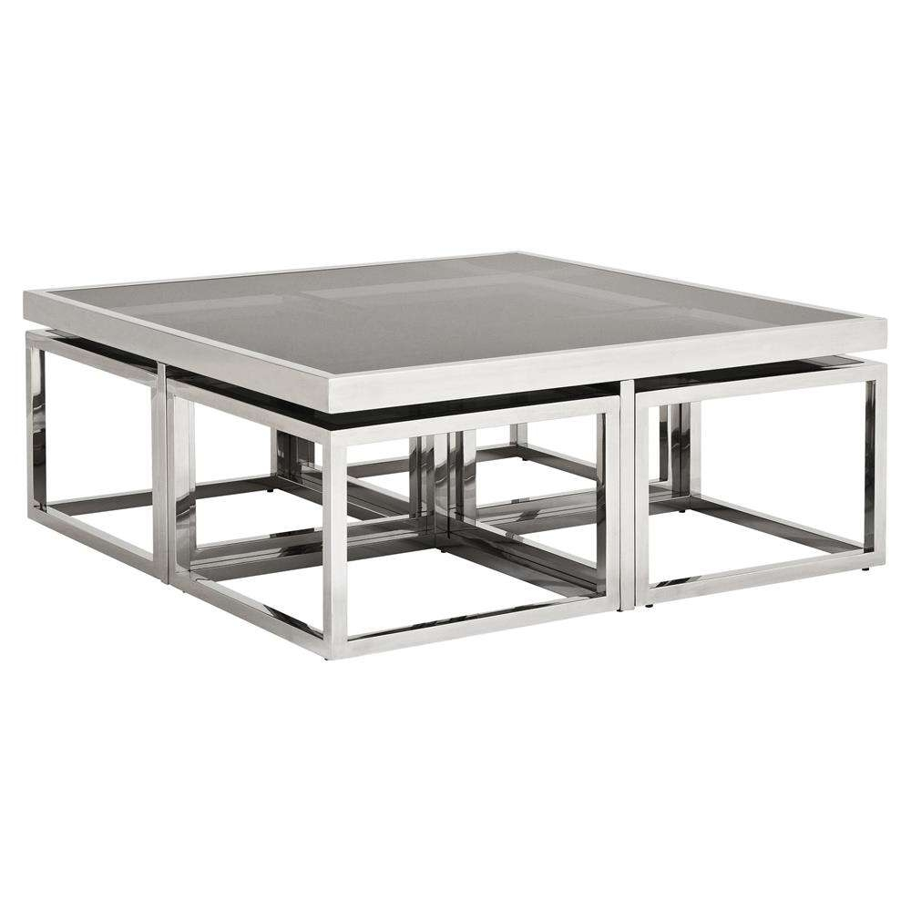 Favorite Glass And Silver Coffee Tables Throughout Eichholtz Monogram Modern Classic Smoked Glass Square Nesting (View 5 of 20)