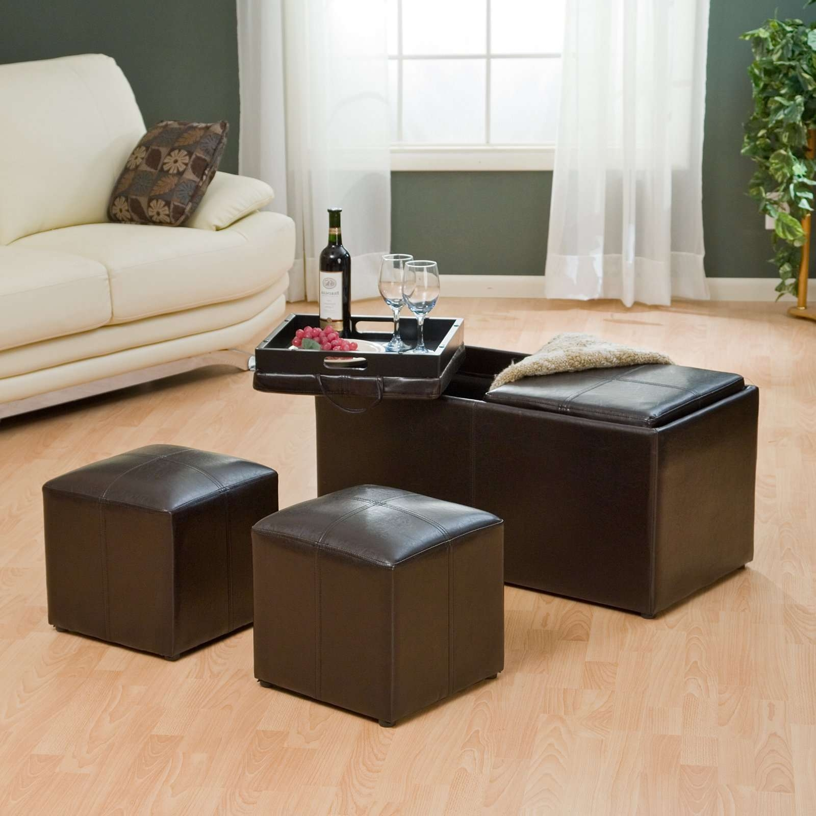 Favorite Green Ottoman Coffee Tables Throughout Green Leather Ottoman Coffee Table Tags : Mesmerizing Coffee (View 9 of 20)