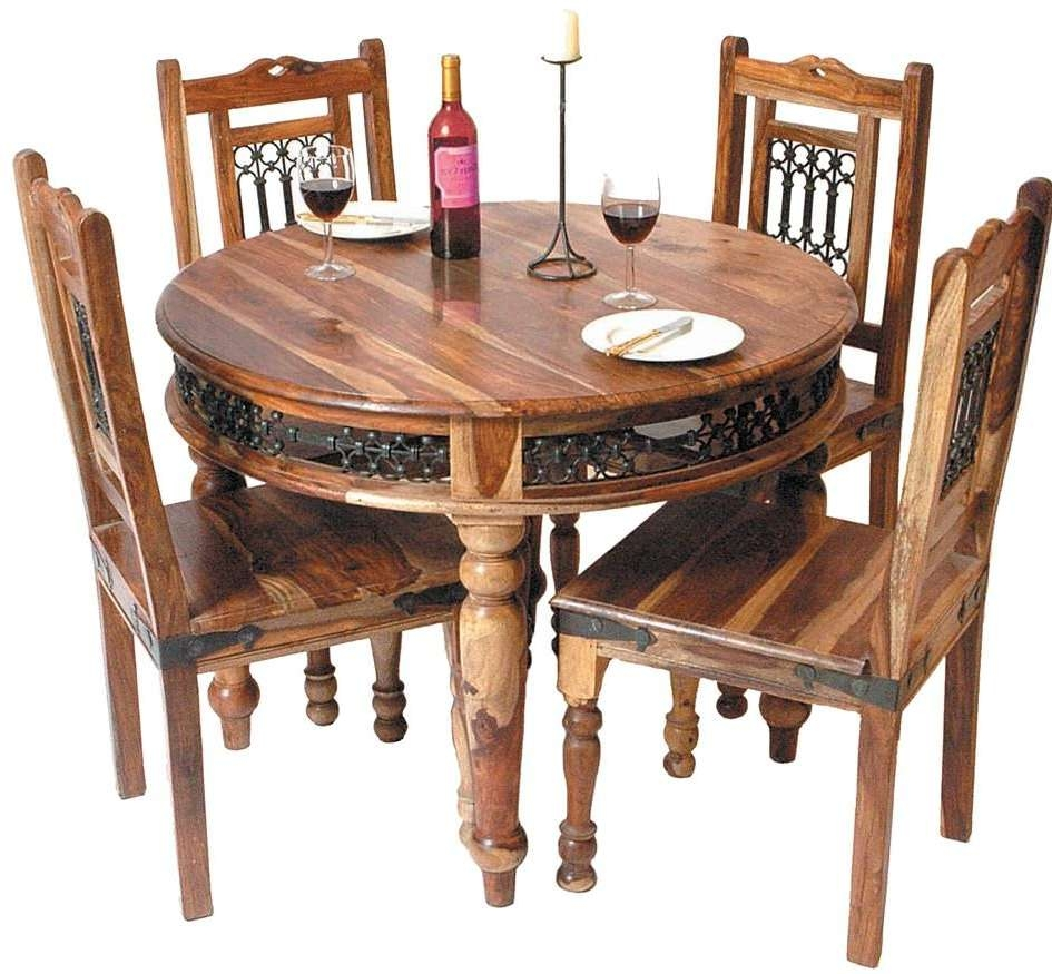 Favorite Jaipur Sheesham Coffee Tables With Buy Jaipur Furniture Jali Dining Set – Round With 4 Chairs Online (View 9 of 20)
