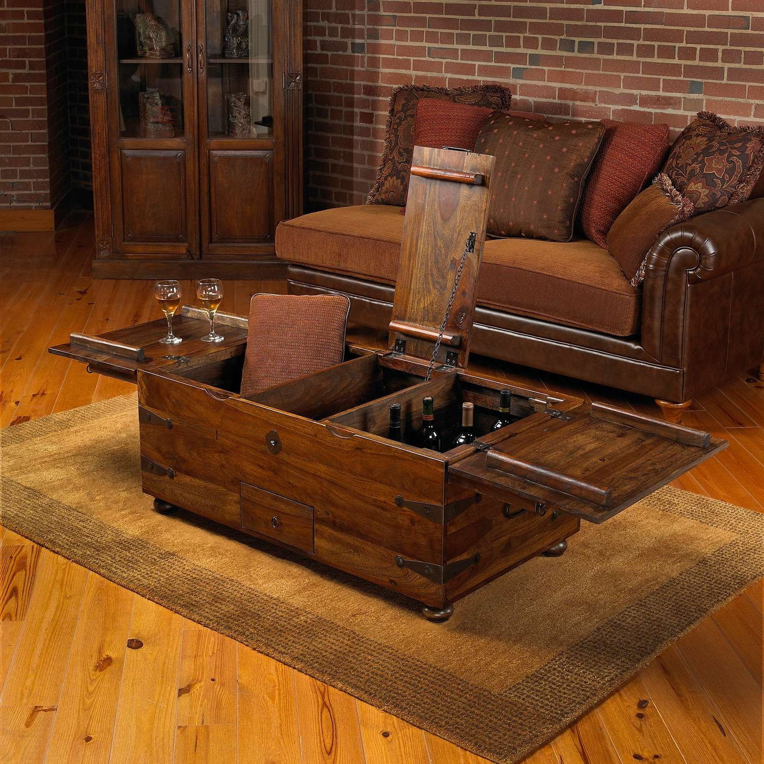 Favorite Large Trunk Coffee Tables Pertaining To Thakat Bar Box Trunk Coffee Table – Wine Enthusiast (View 11 of 20)