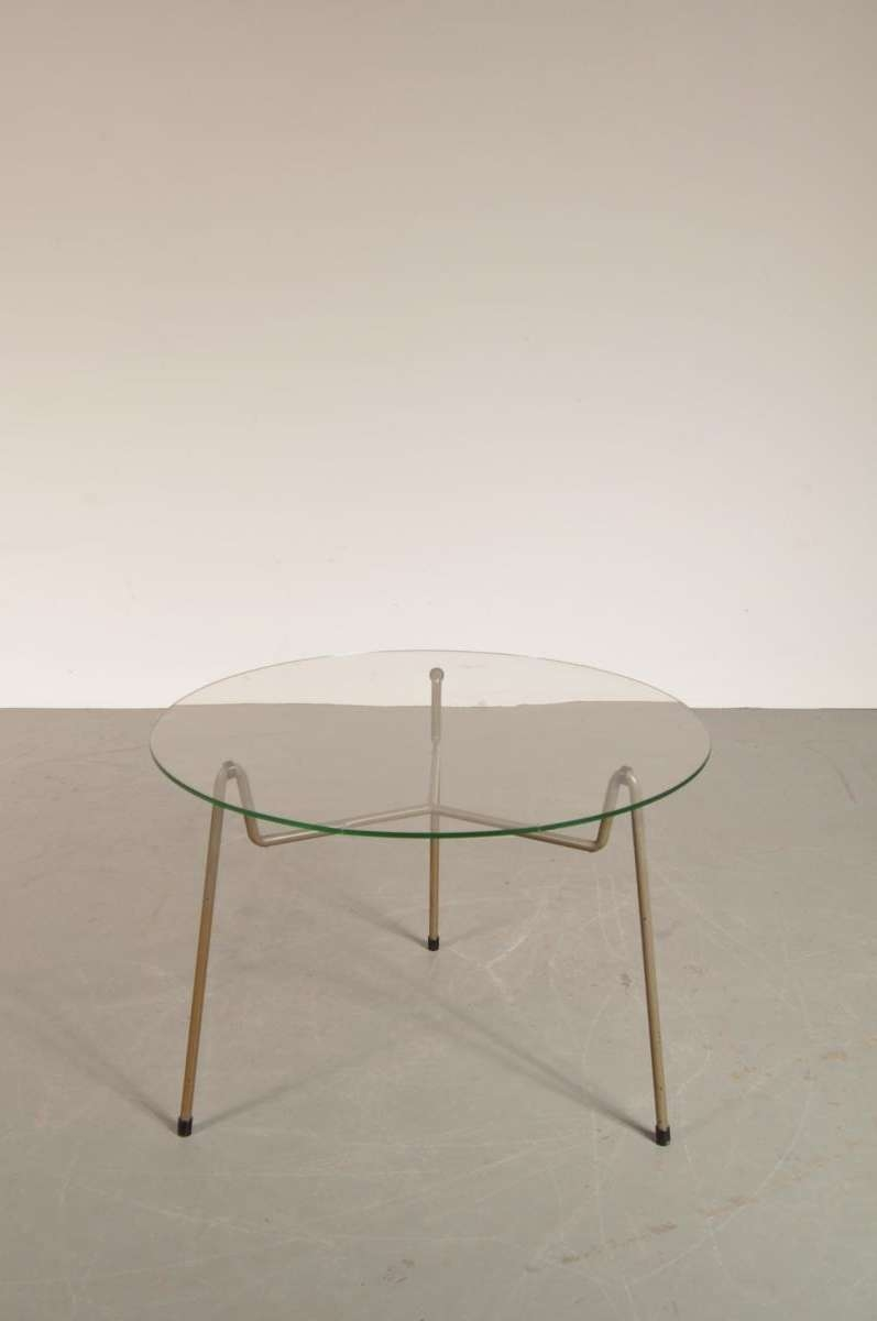 Favorite Metal Glass Coffee Tables Inside Dutch Round Grey Metal & Glass Coffee Table From Gispen, 1950S For (View 7 of 20)