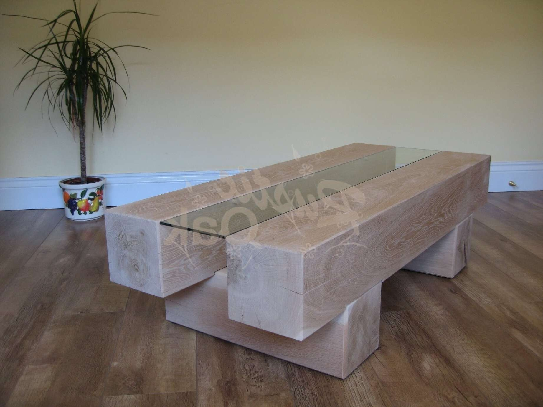 Favorite Oak Beam Coffee Tables Inside 2 Beam Coffee Table With Glass Centre – Rustic Oak Furniture (View 10 of 20)
