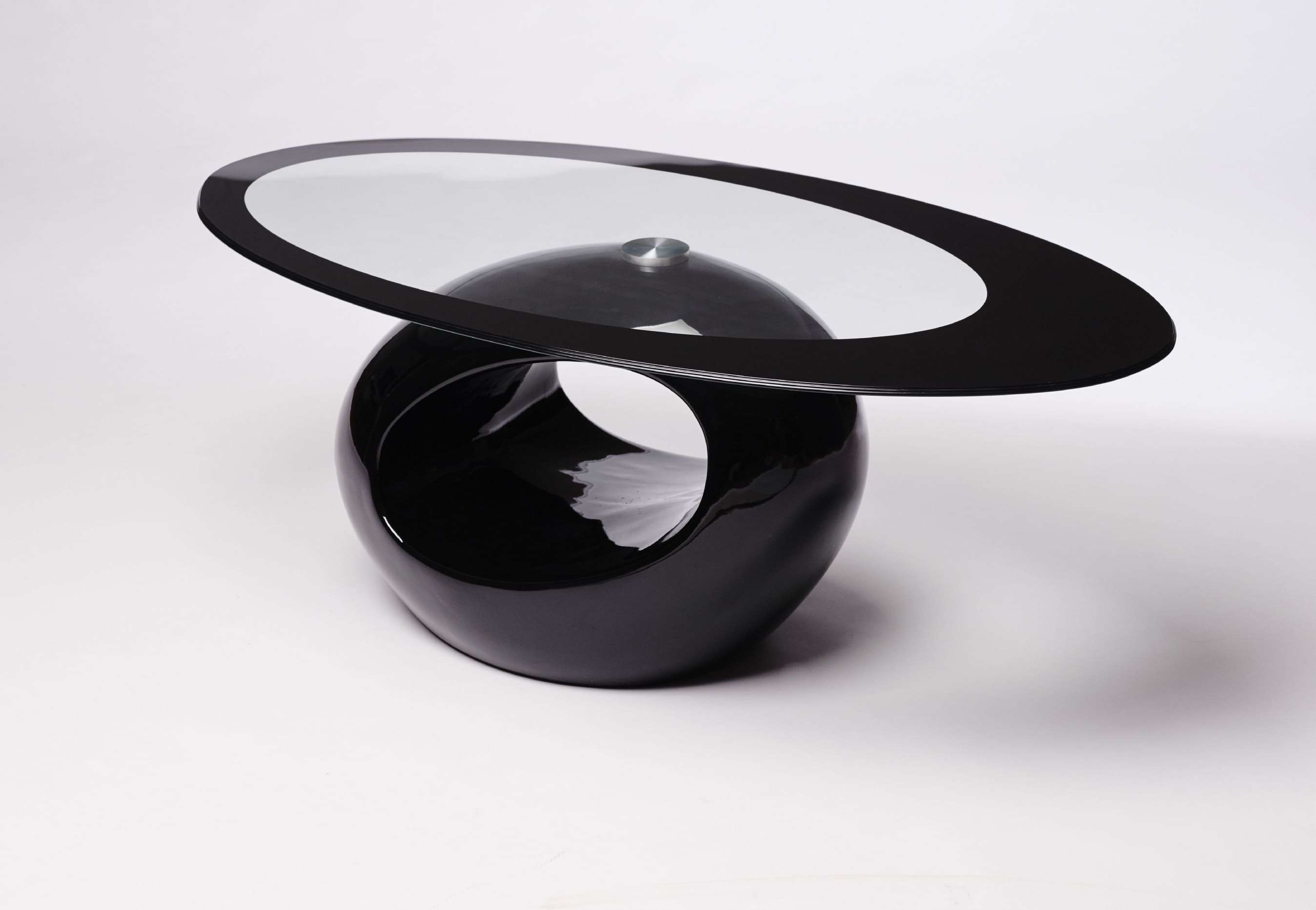 Favorite Oval Black Glass Coffee Tables With Regard To Contemporary Retro Designed Oval Coffee Table (Black (View 11 of 20)