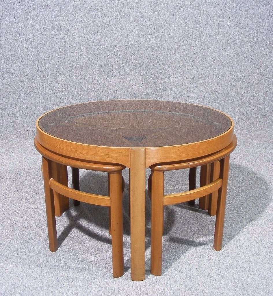 Favorite Retro Teak Glass Coffee Tables Regarding Vintage Retro Teak Glass Top Nathan Petal Nesting Coffee Tables (View 7 of 20)
