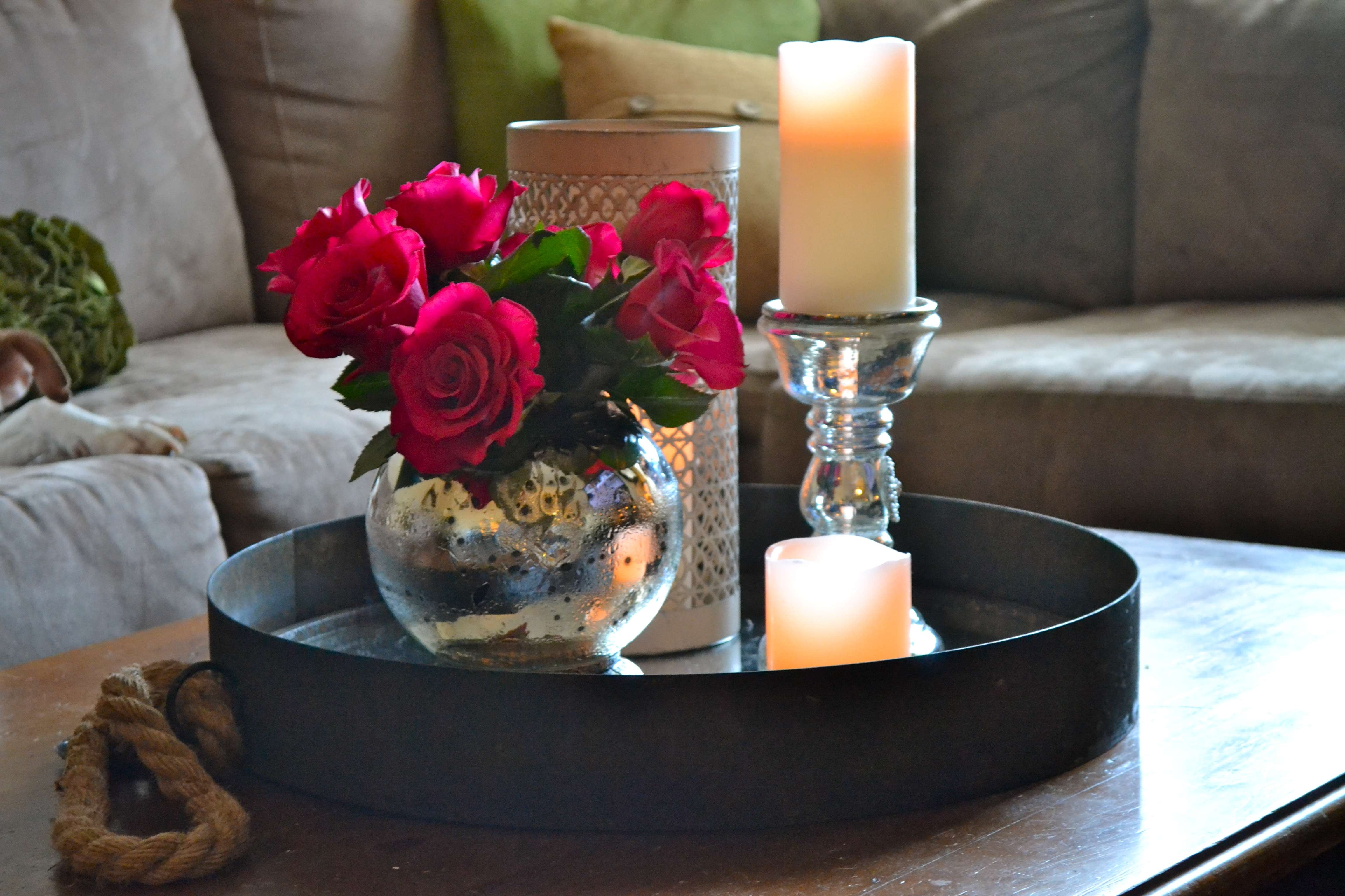 Favorite Round Coffee Table Trays In Black Metal Round Tray Coffee Table With Candle Holder And Flower (View 11 of 20)
