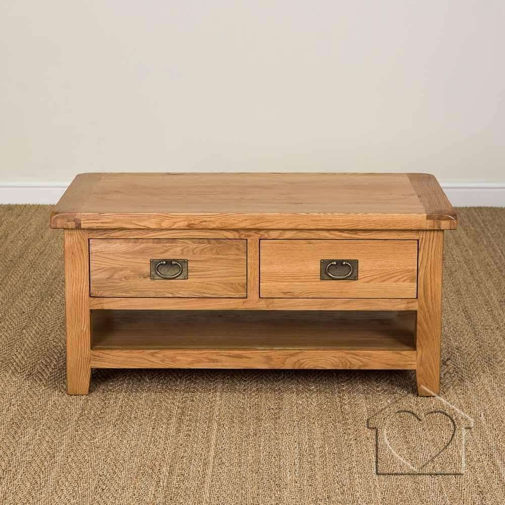 Favorite Rustic Oak Coffee Table With Drawers Intended For Rustic Oak Coffee Tables Uk Heritage Rustic Oak Large Coffee Table (View 8 of 20)