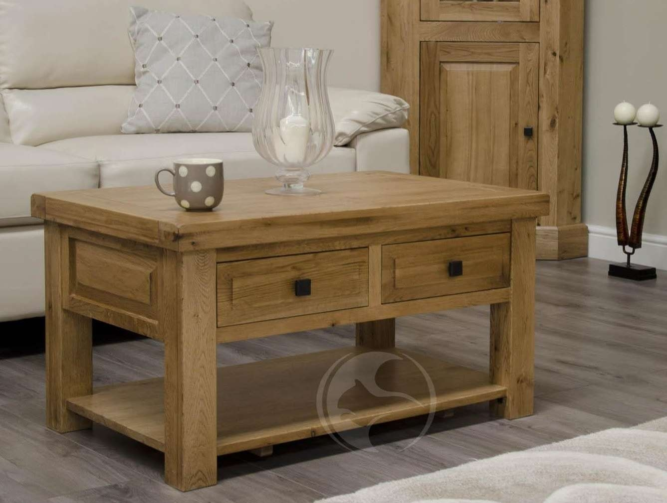 Favorite Rustic Oak Coffee Table With Drawers Pertaining To Solid Oak Coffee Table – Writehookstudio (View 10 of 20)
