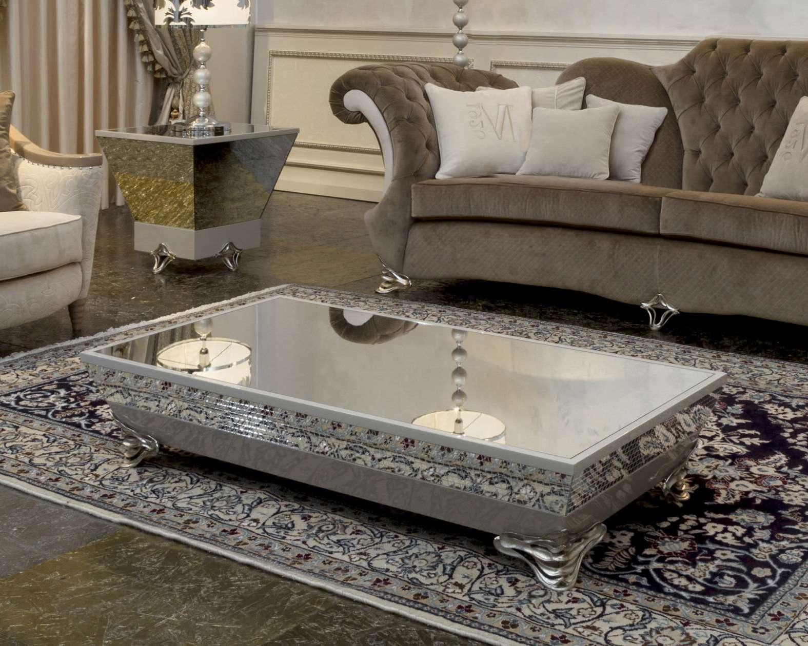 Favorite Small Mirrored Coffee Tables For Rectangle Modern Low Coffee Table With Silver Metal Base And (View 6 of 20)