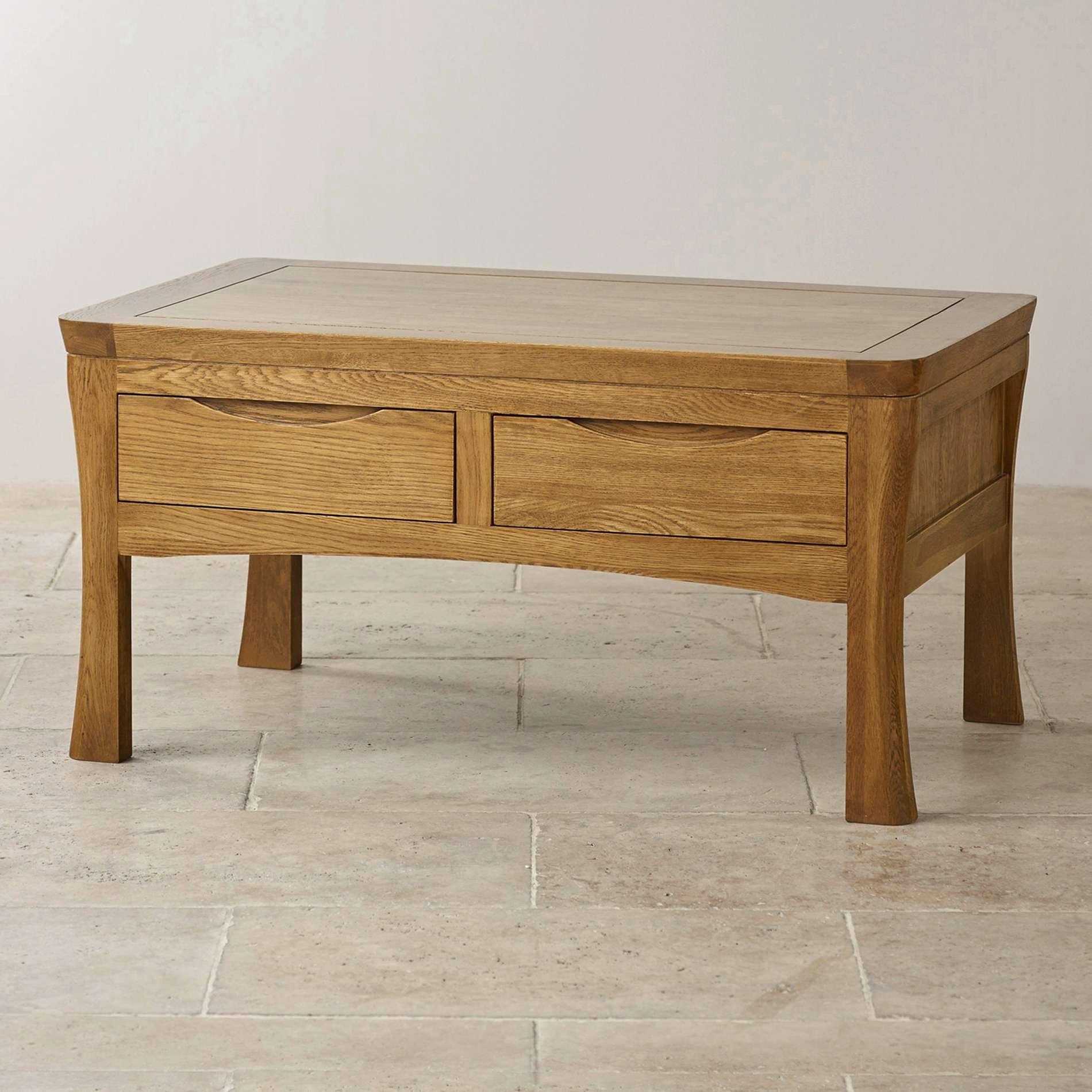 Favorite Solid Oak Coffee Tables Inside Coffee Tables : Solid Wood Coffee Table With Drawers And Shelf Oak (View 2 of 20)