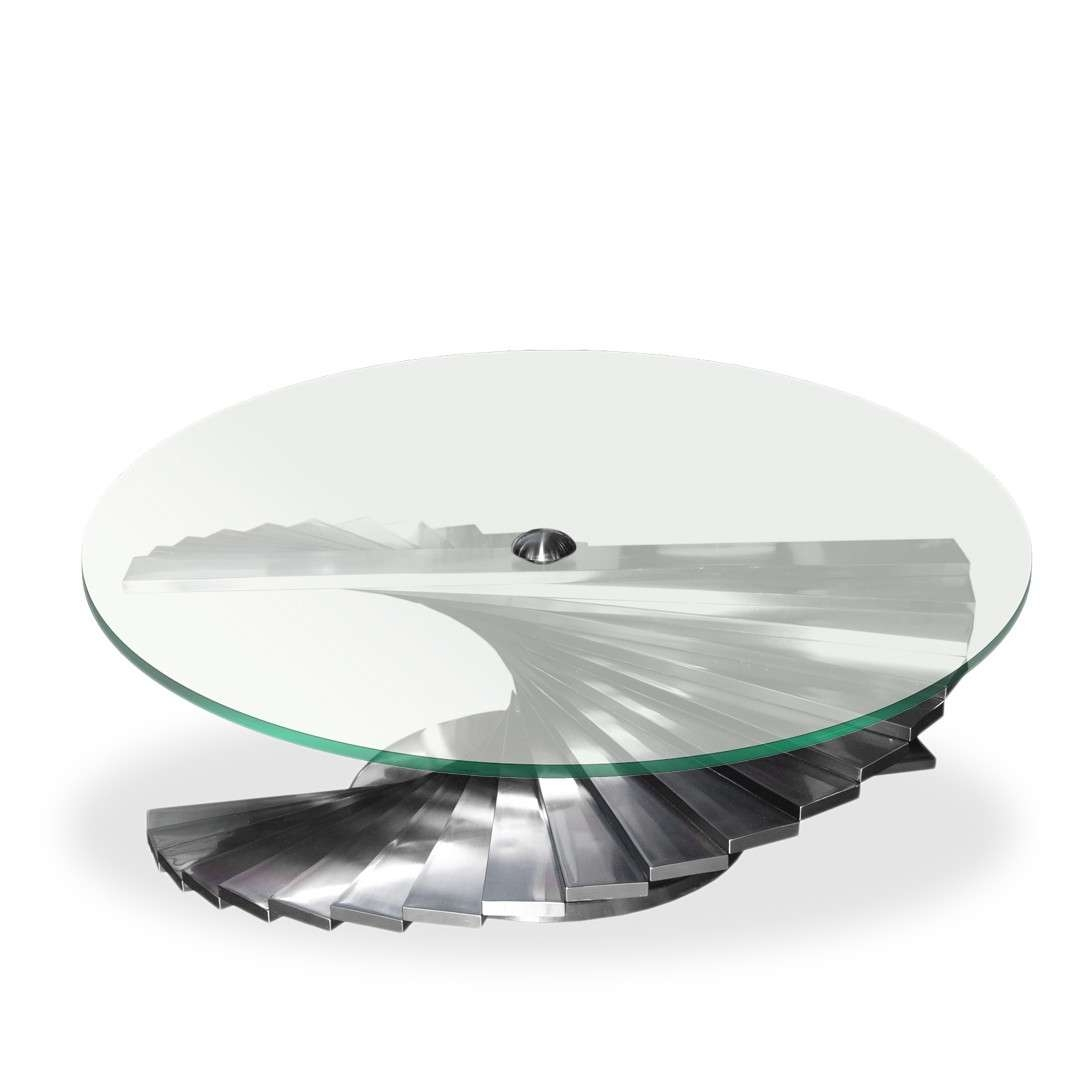 Favorite Spiral Glass Coffee Table With Stainless Spiral Base Coffee Table With Round Glass Top Decor Nyc (View 7 of 20)
