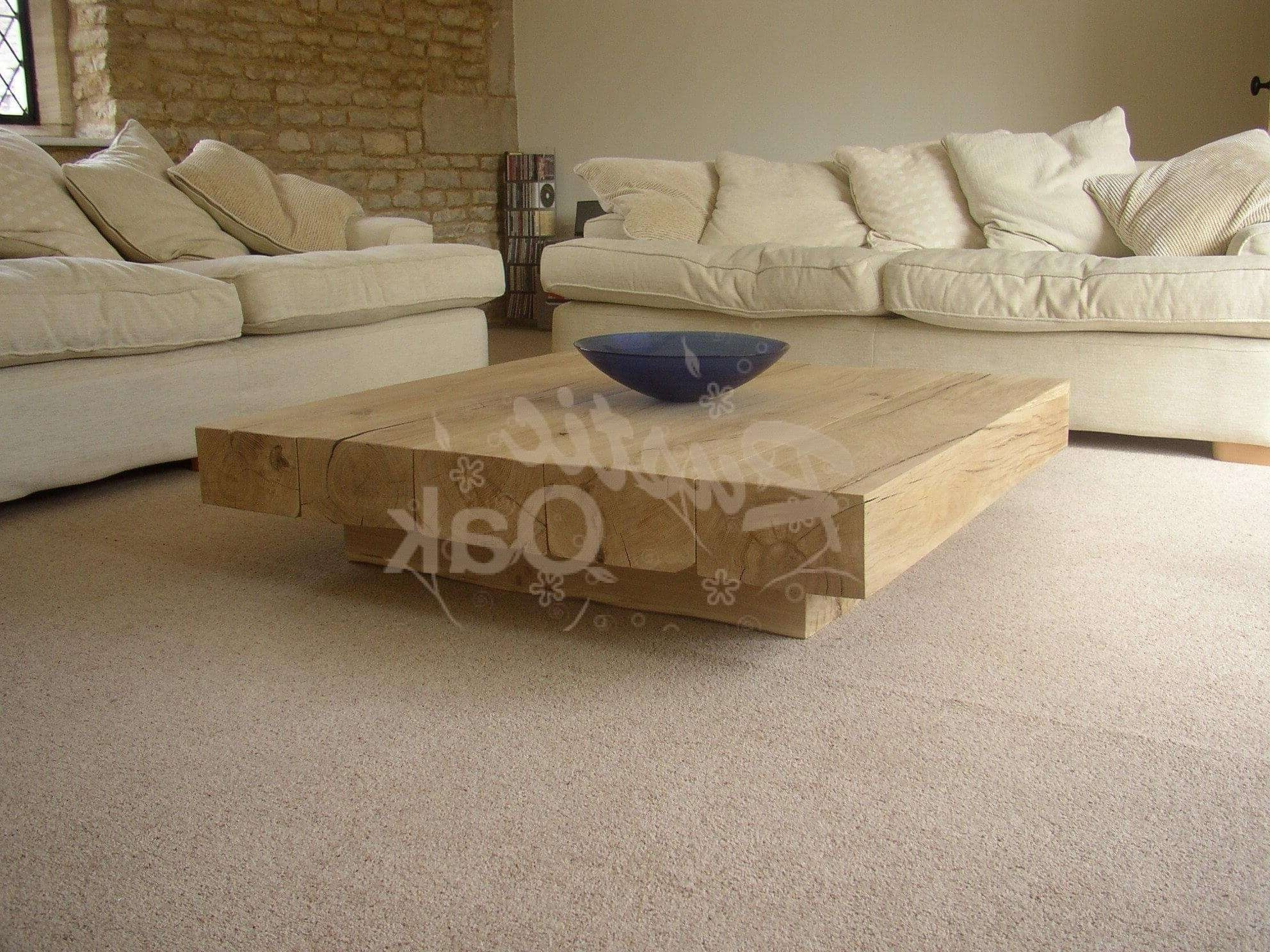 Favorite Square Oak Coffee Tables In Coffee Table With Cube Base (green Oak) – Rustic Oak (View 6 of 20)