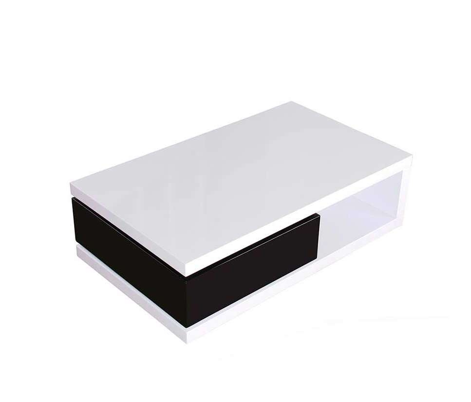 Favorite Swivel Coffee Tables Regarding White Lacquer Coffee Table With Black Drawer Bm  (View 6 of 20)