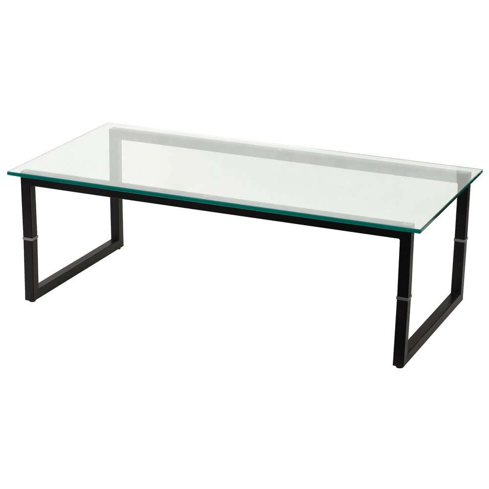 "Flash Furniture Fd Coffee Tbl Gg 23 1/2"" X 47"" Black Metal Coffee With Newest Glass And Black Metal Coffee Table (View 10 of 20)"
