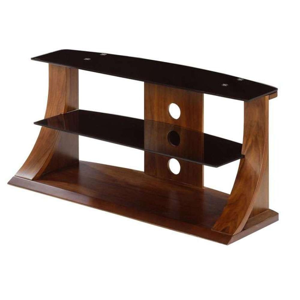 Flat Panel Stand Dark Walnut Stylish Black Glass Shelf With Walnut Tv Cabinets (View 7 of 20)
