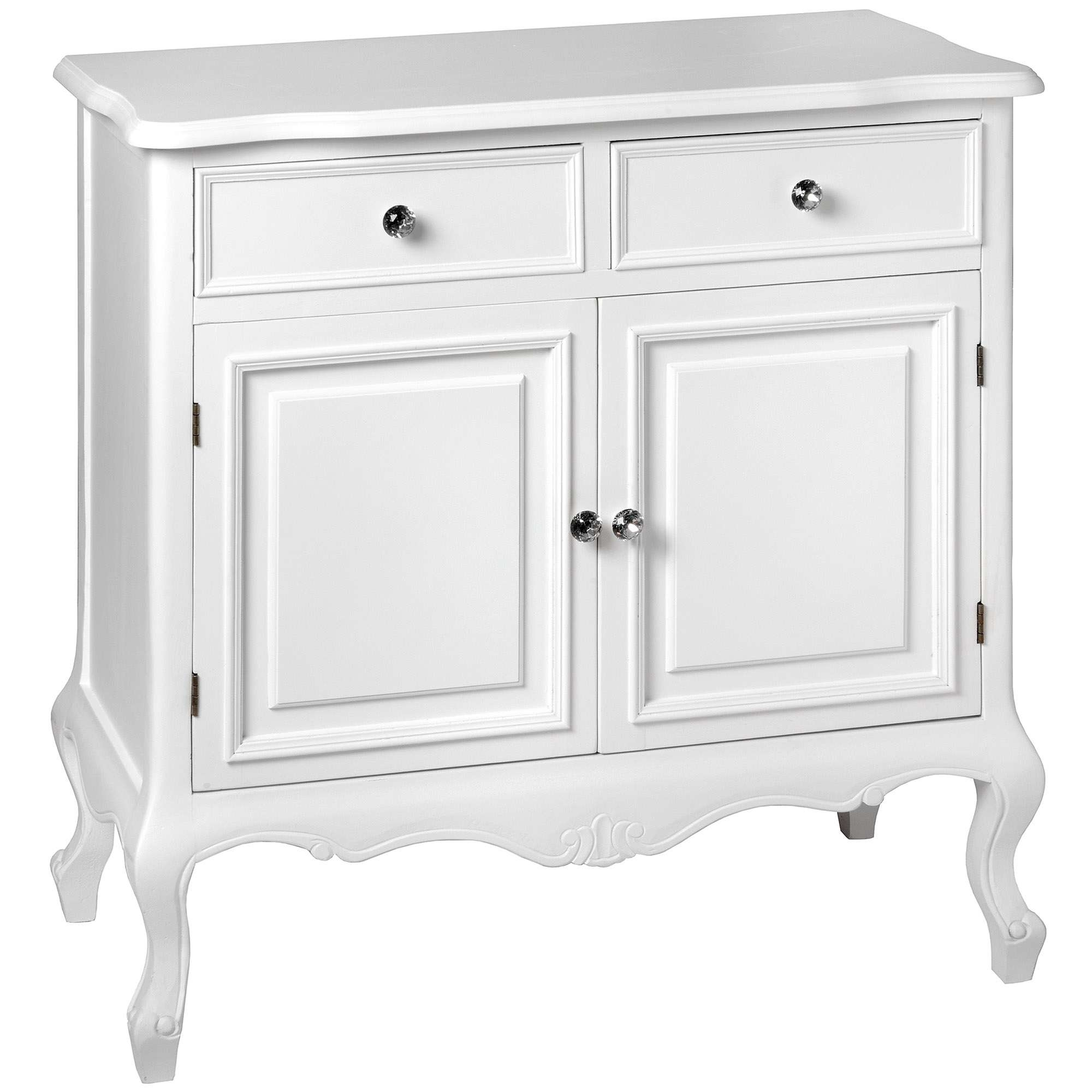 Fleur White 2 Drawer Shabby Chic Sideboard | Homesdirect365 For Shabby Chic Sideboards (View 3 of 20)