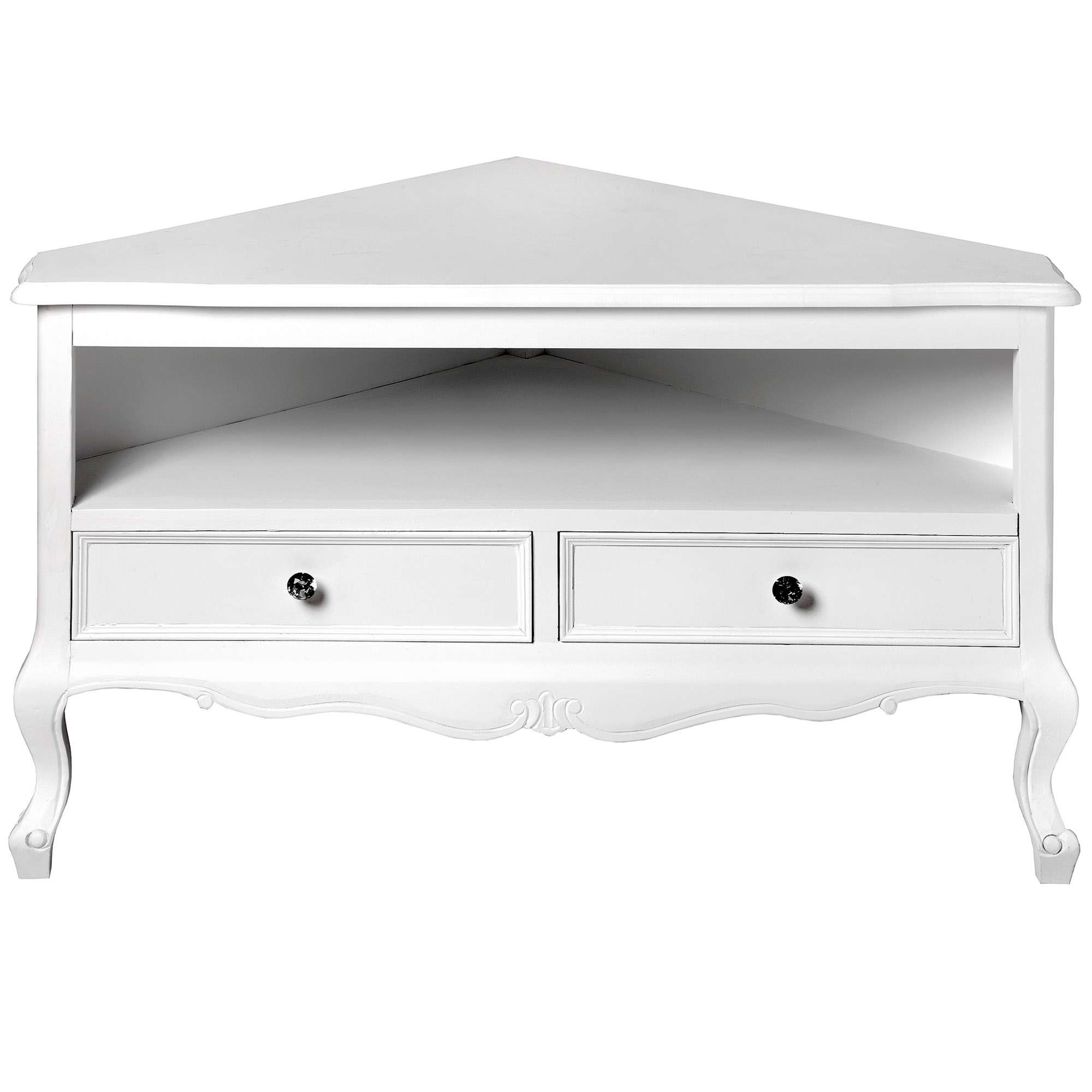Fleur White Shabby Chic Corner Tv Unit | Lounge | Homesdirect365 With Regard To White Corner Tv Cabinets (View 4 of 20)
