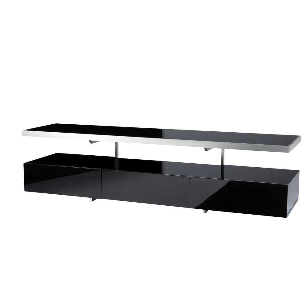 Floating Shelf Tv Unit Black – Dwell Within Black Gloss Tv Cabinets (View 8 of 20)