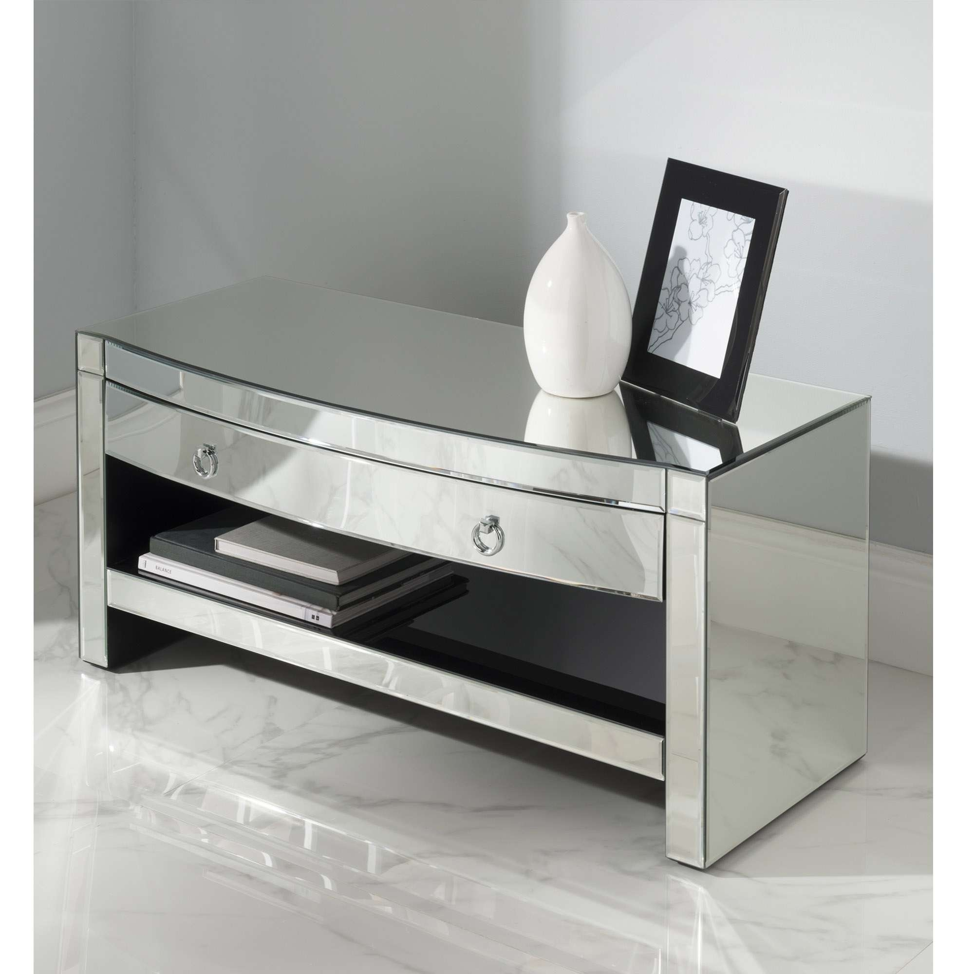 Florence Mirrored Tv Cabinet | Venetian Glass Furniture Pertaining To Mirrored Tv Cabinets (View 4 of 20)