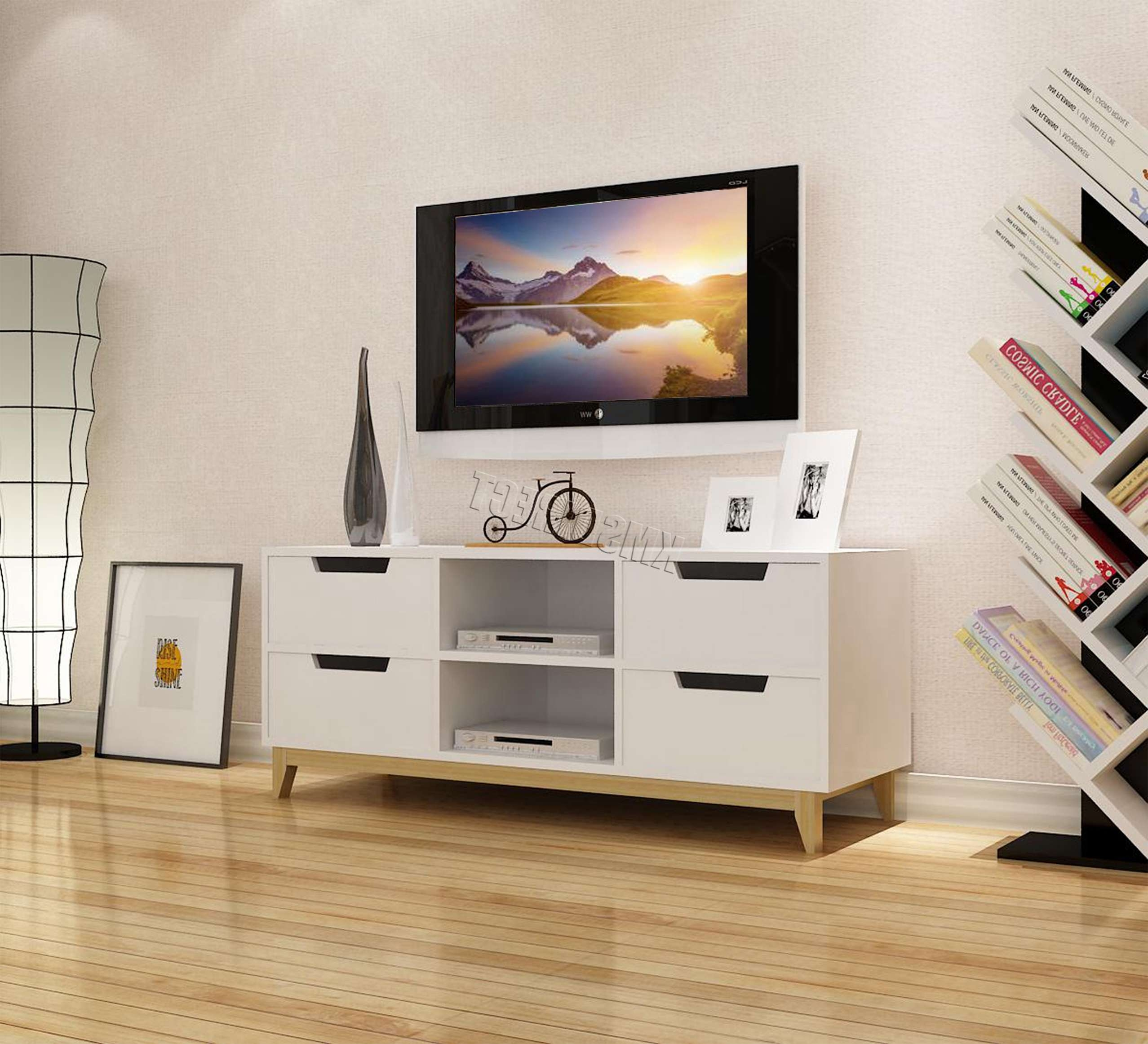Foxhunter Mdf Tv Cabinet 4 Drawers 2 Layer Unit Stand Home 120cm Throughout Tv Cabinets With Drawers (View 18 of 20)
