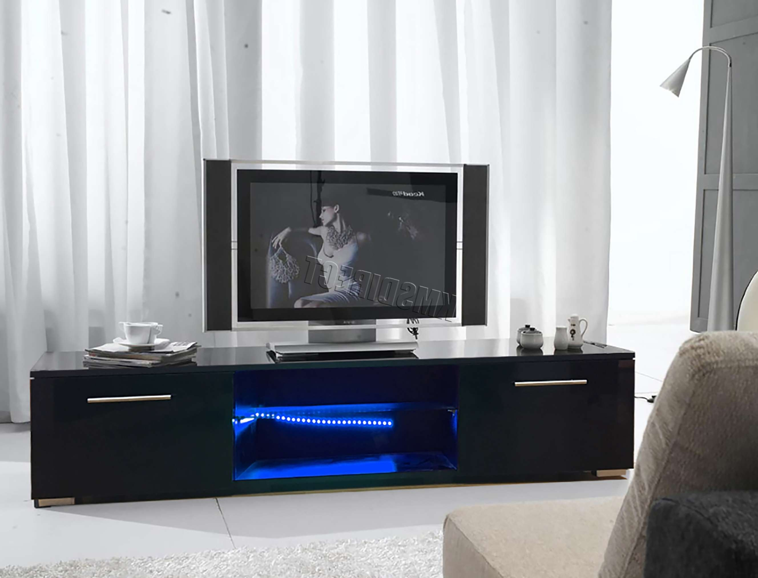 Foxhunter Modern High Gloss Matt Tv Cabinet Unit Stand Black Rgb Pertaining To Tv Cabinets Black High Gloss (View 7 of 20)