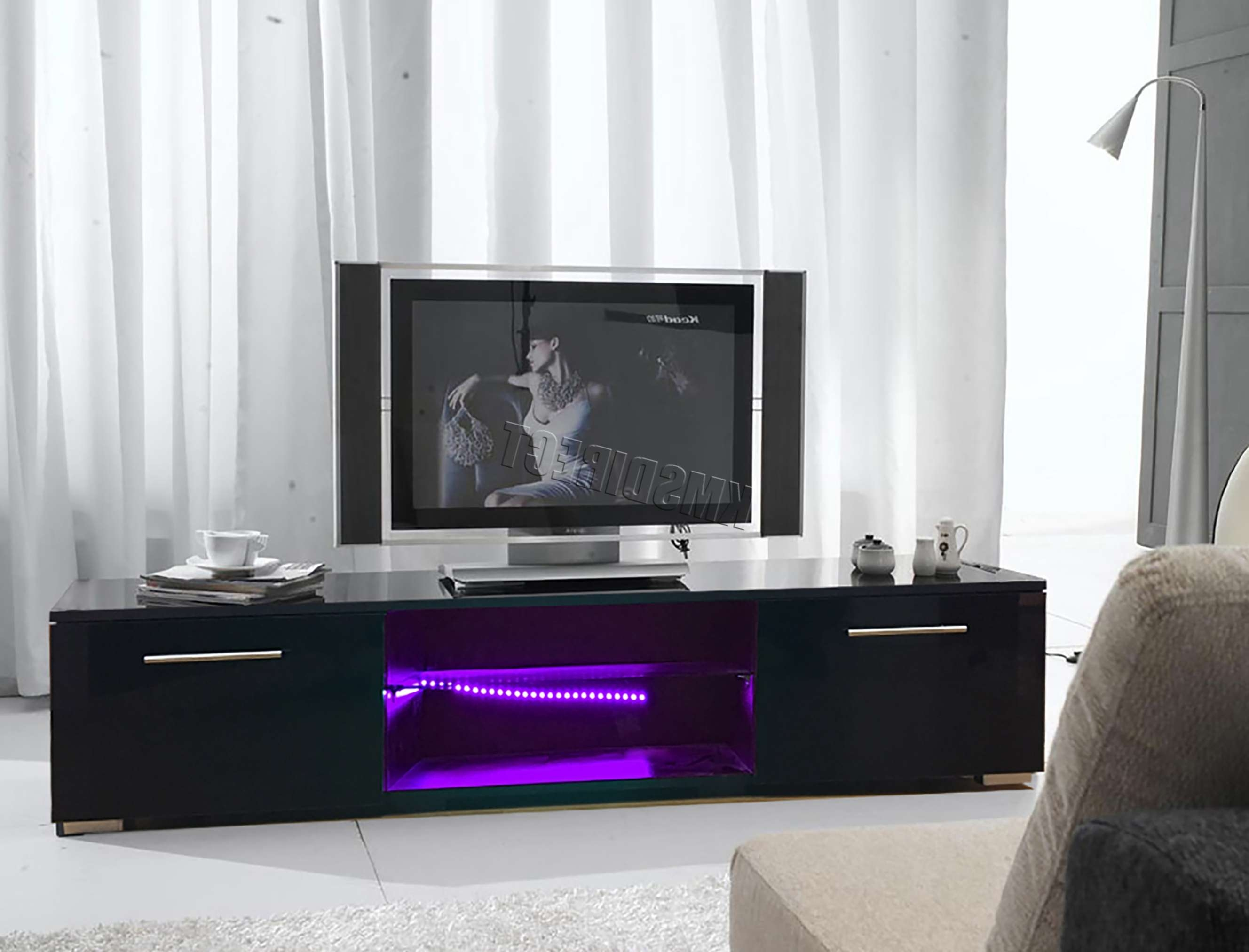 Foxhunter Modern High Gloss Matt Tv Cabinet Unit Stand Black Rgb Throughout Black Gloss Tv Cabinets (View 18 of 20)