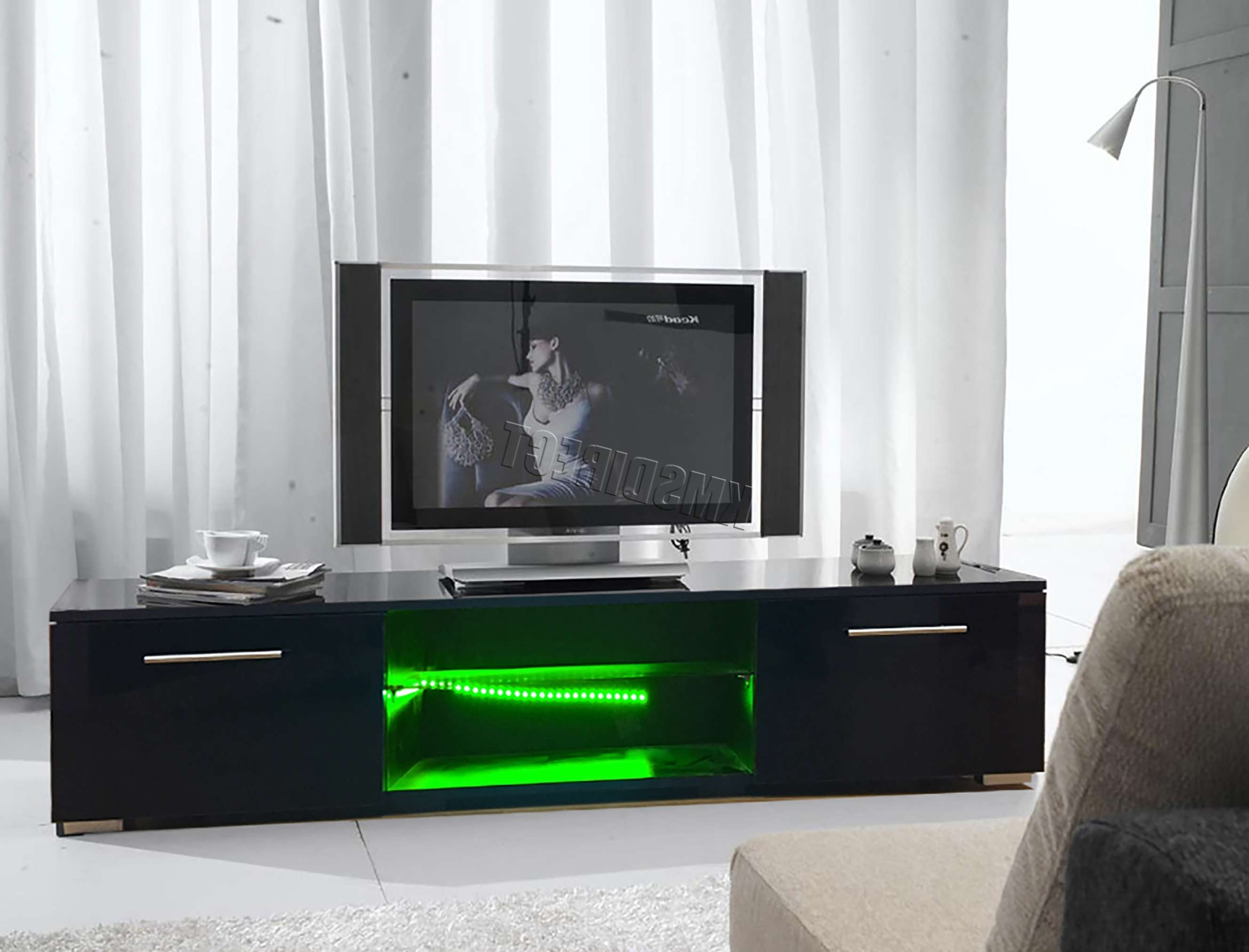 Foxhunter Modern High Gloss Matt Tv Cabinet Unit Stand Black Rgb Throughout Led Tv Cabinets (View 6 of 20)