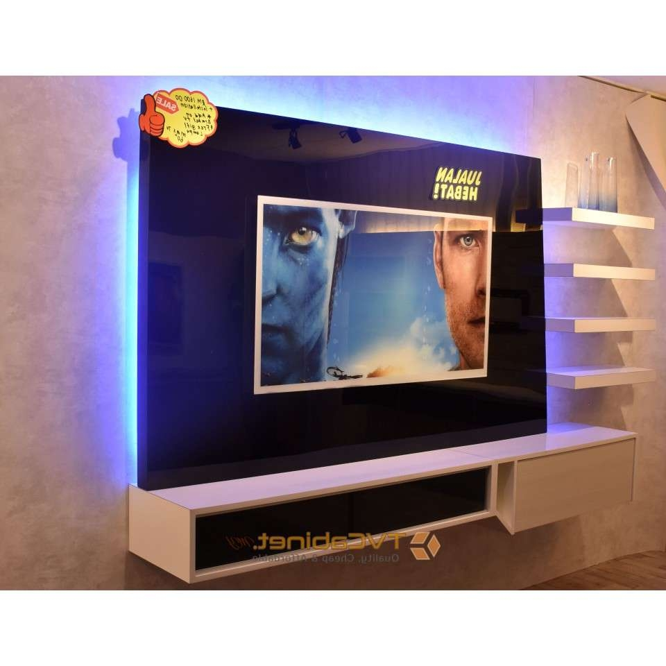 Foxhunter Modern High Gloss Matt Tv Cabinet Unit Stand Blue Led For Led Tv Cabinets (View 4 of 20)