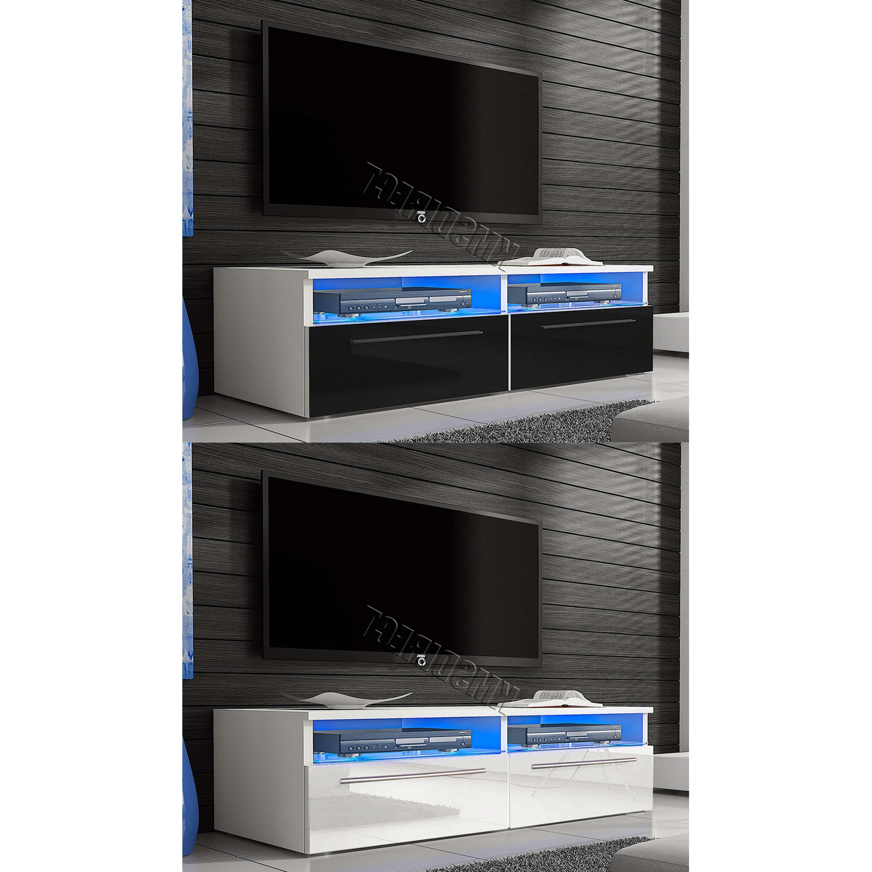 Foxhunter Modern High Gloss Matt Tv Cabinet Unit Stand Blue Led Regarding Tv Cabinets Gloss (View 19 of 20)